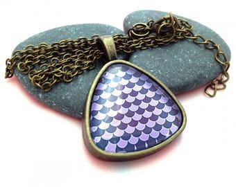 Triangle purple shell necklace - Bronze