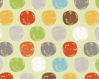 Sale Green Dots Flannel Fabric from the Sweet Meadow Flannel Collection by Arrolyn Weiderhold for Wilmington Prints