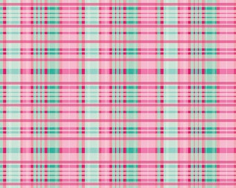 """End of Bolt, Primavera Plaid in Teal Cotton Fabric by Patty Young for Riley Blake 29""""x44"""""""