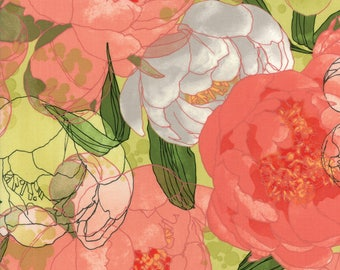Light Green Floral from the Blushing Peonies collection by Robin Pickens for Moda Fabrics, Choose the Cut, 48610 15, Large Floral, Peony