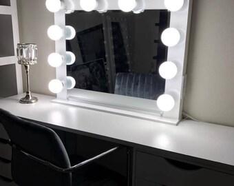 mirror with lights etsy. Black Bedroom Furniture Sets. Home Design Ideas