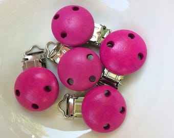 Set of 6 clips (clips) for clip - pacifier - Fuchsia