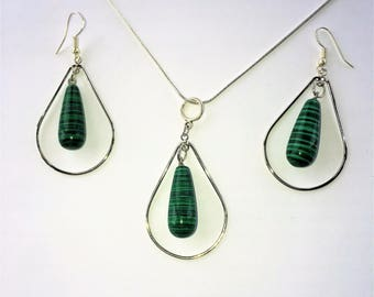 Malachite Crystal Necklace & Earring Set