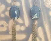 Chinese Writing stone tassel earrings