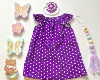0- Flutter Sleeve Dress- purple polka dots