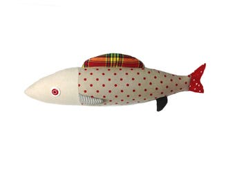 Catherine Bouchard creations. Decorative fish. Cushion. Fish design. Sardines. cushions. Made in Quebec.