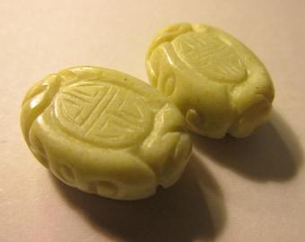 "Lemon Yellow Flat Oval Magnesite Beads with Chinese ""Shou"" Motifs, 25mm, Set of 2"