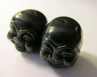 Carved Heitan Green-Black Jade of Laughing Buddha-Hotei Head Bead, 20mm