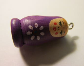 Hand Painted Purple Wooden Matryoshka Russian Doll Bead-Charm, 1 1/4""