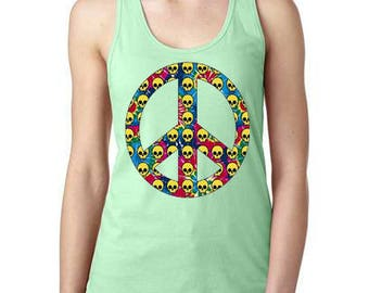 Tye Dye Peace Sign With Skulls Womens Tank Top