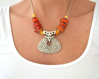 African Moroccan necklace, Ethnic Tribal Berber necklace, African Red & Orange Coral Necklace Jewelry, Bohemian Ethnic Tribal Coral Choker