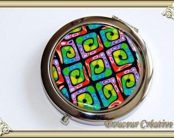 Multicolor spiral round Pocket mirror 111016
