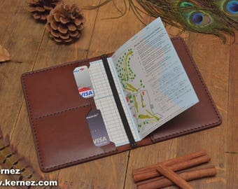 Personalized Handmade Leather Golf Wallet, Scorecard Holder, Chestnut leather, Golf Gifts for Men, Yardage Book, Scorecard, golf gift