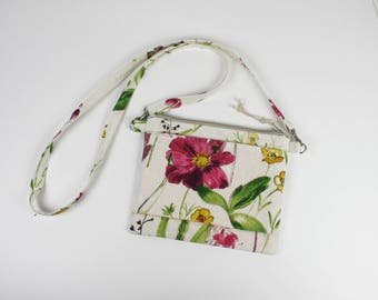 Shoulder pouch in natural linen cotton and flower with polka dots