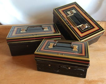 Chad Valley England tin cash box saving bank coin penny saver