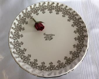 Royal Albert 25 th Anniversary Celebration silver gilded cake stand bone china