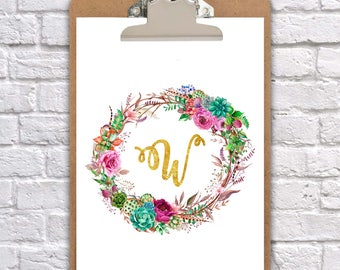 Alphabet wreath clipboard watercolour art nursery/wedding, wall decor