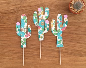 3x Mini Liberty print cactus cake toppers/ cake decorations / cactus decoration /party supplies