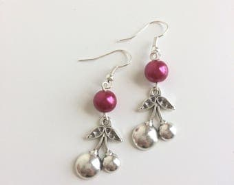 Cherry earrings and red beads