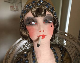 French smoker  Boudoir doll with her original tag. Flapper ,  Rhinestones