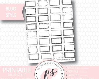 Bullet Journal Bujo Decorative Half Boxes Printable Planner Stickers | JPG/PDF/Silhouette Cut Files