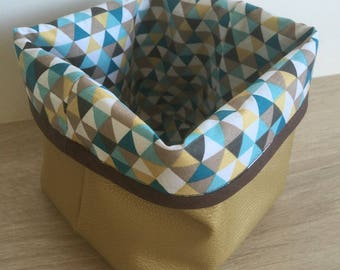 Storage basket 14 x 14 faux leather and cotton