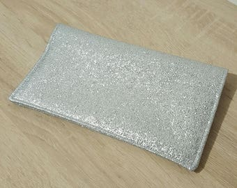 Faux silver leather checkbook