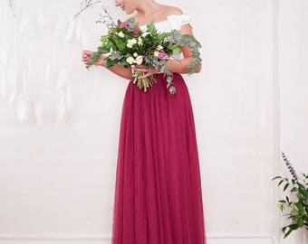 Berry-Red long tulle-wedding skirt Bridesmaid