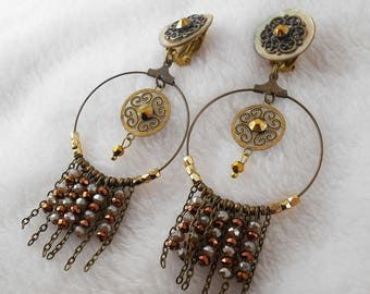 "Earring clip golden bronze ""Dream"" (made in France)"