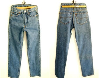 Mom jeans High waist Levis Levi Strauss W27 denim pants stonewashed jeans straight cut leg stone wash indigo denim vintage 1990s 90s