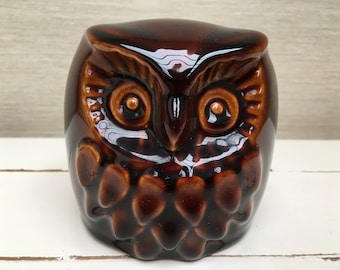 Vintage Denmead Studio Pottery Owl Glazed Brown Money Box with Stopper