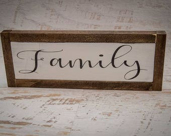 Rustic Family Room Sign | Wooden Sign | Framed Wall Art | Family Sign | Picture Wall Gallery | Thoughtful Gift | Family Word Wall Decor