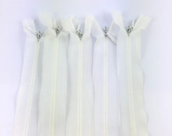 Set of 5 invisible zippers 20 cm white not separable