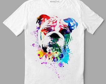 Bulldog t-shirt, man t-shirt, english bulldog, white t-shirt, gray t-shirt