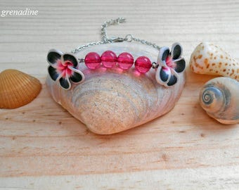 Bracelet Bohemian polymer tiare flower and pearls