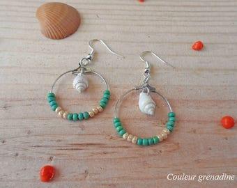 Hoop earrings navajo pearls and shell