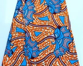 Orange Floral African Fabric By The Yard Orange and Blue Ankara Fabric by the yard African Orange Fall Fabric Orange Ankara Dress Fabric