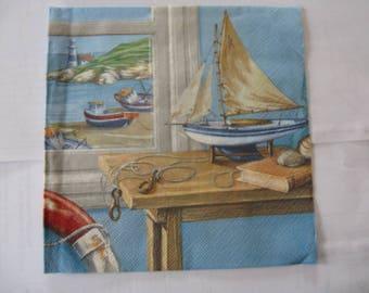 set of 2 boat paper napkins