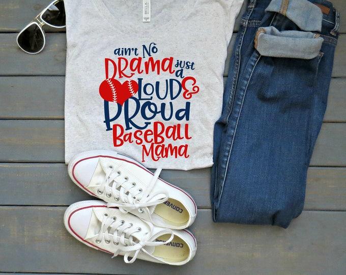 Proud Baseball Mom Tee, Baseball Mama Shirt, Baseball Tee, Women's Baseball Shirt, Gifts For Mom