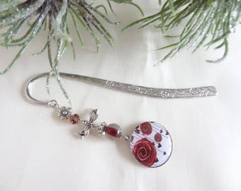 Bookmark silver metal, resin flower cabochon rose