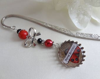 """Silver """"lucky"""" bookmark/book/reading/gift accessory reader/door happiness/Ladybug/bookmark"""