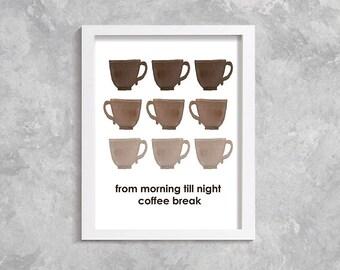 Coffee Art, Kitchen Decor, Coffee Wall Art, Coffee Print, Coffee Decor, Kitchen Art, Printable Art, Home Decor, Coffee Art Print Poster