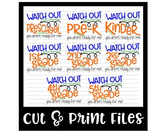 Back To School SVG Bundle * All Grades Shown - dxf, SVG, PDF Printable Files - Silhouette Cameo, Cricut