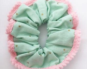 Mint Spots Pom Pom Scrunchy
