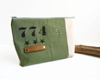 Pochette en toile militaire kaki et coton beige - trousse à maquillage en toile militaire par Pleasant Home