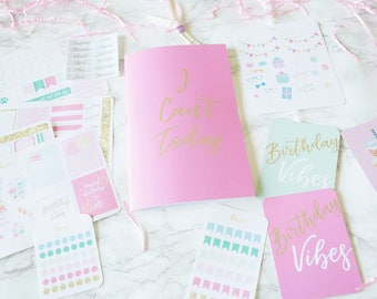 It's My Birthday Stationery Collection, Stationery Set, Birthday Stickers, Planner Stickers, Notebook, Journaling Cards, Planner Inserts