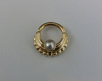 CLICKER SEPTUM Ring, Nose Ring ,cartilage earring,tragus,Pearl stone 2.5mm-14k Solid gold - 18g -16g -14g -inner diameter 6mm to 10mm