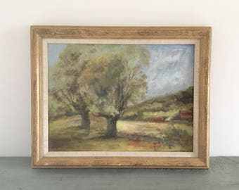 Country landscape vintage painting, rustic country scene.