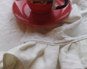 Linen dish towel for hands and dishes with ruffles and with a hanger
