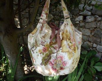 Romantic floral pastel cotton bag satin